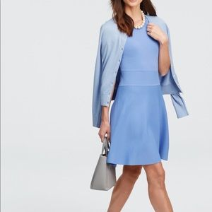 Ann Taylor flare sweater blue dress LP